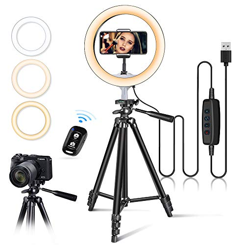 "10"" USB Selfie LED Ring Light with 50"" Extendable Tripod"