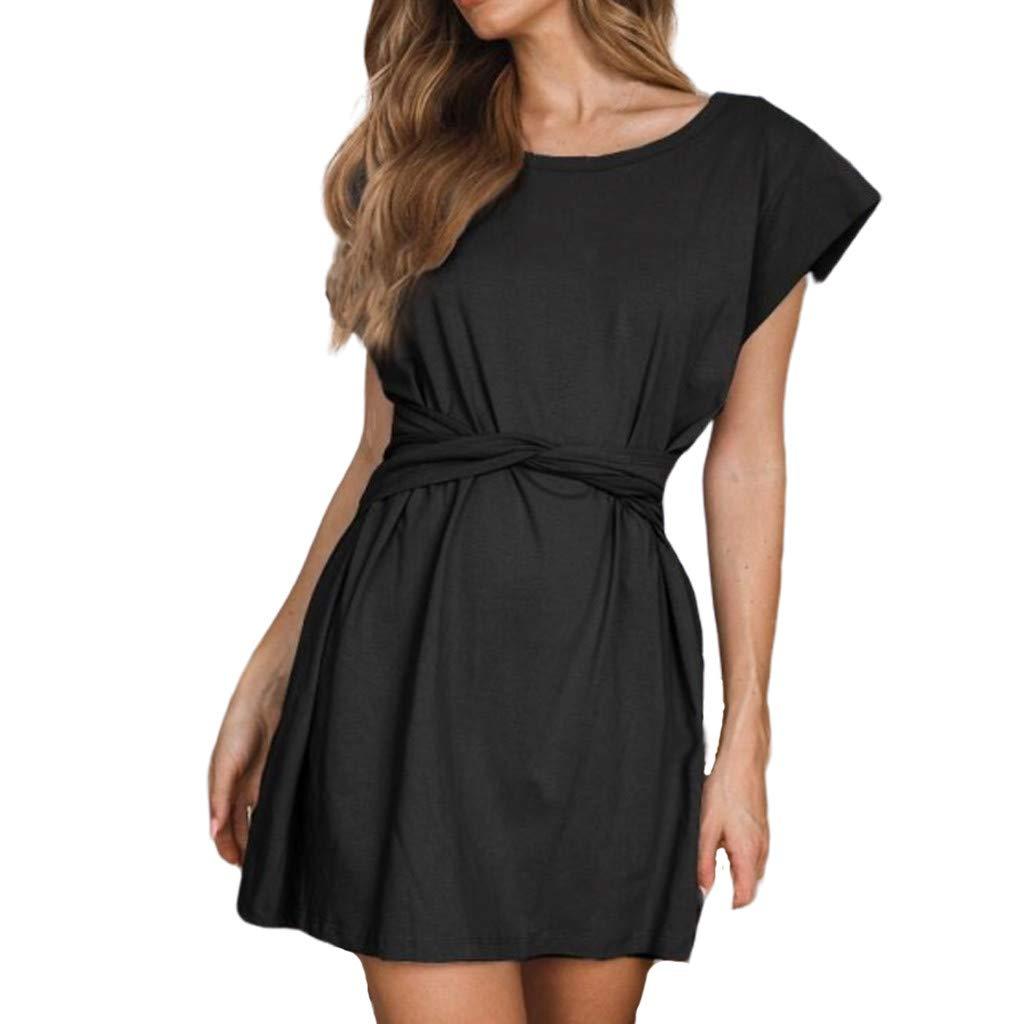 Xavigio_Women Dresses Women's Short Sleeve O-Neck Bandage Loose Casual Front Tie Bandage Swing Party Dress Black
