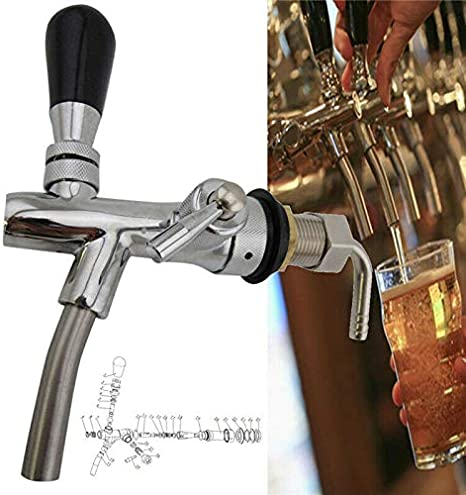 Grifo de barril del vino y la cerveza o de la madera, grifo ajustable con rosca G5/8, para bares, hoteles, restaurantes y hogares, 160 x 170 mm (longitud x altura)