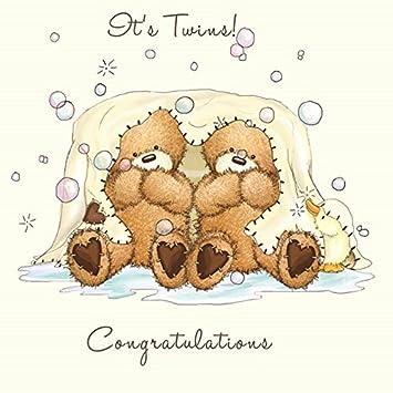 Carte de felicitation naissance de jumeaux