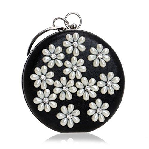 kaoling Mujeres Cuentas Flores Diamantes Embrague Bolsos Hombro Cadena Circular Metal Bolsas Noche Color Mezclado YM1204silver YM1204black