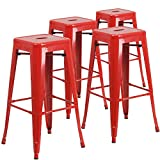 "Flash Furniture 4 Pk. 30"" High Backless Red Metal Indoor-Outdoor Barstool with Square Seat For Sale"