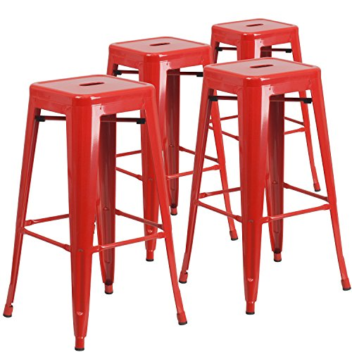 Flash Furniture 4 Pk. 30'' High Backless Red Metal Indoor-Outdoor Barstool with Square Seat Bar Stool Red Seat Assembled