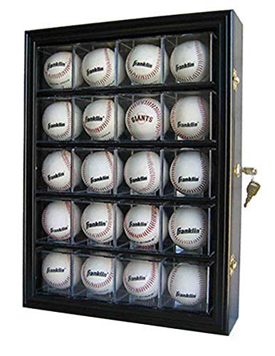 20 Baseball or Cube Display Case Cabinet, with 98% UV Protection. with Lock and Keys (Black Finish Solid Wood) (Baseball Case Display Four)