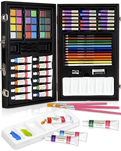 COLOUR BLOCK 73pc Deluxe Wooden Art Set I Color Pencil, Acrylic Paints, Watercolor Cakes, Oil Pastel, Paint Brush…