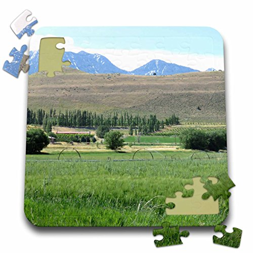 Jos Fauxtographee- Sprinklers - Mountains and hills with a grassy meadow with sprinklers - 10x10 Inch Puzzle - Utah Field Hill