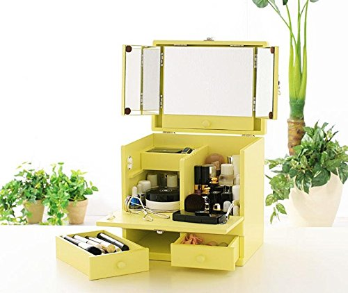 5段階調節機能付大型三面鏡 カラフルメイクボックス 【選べるパステル5カラー】 女性の声をもとに女性スタッフが考えました! (クリーミーイエロー) B01FIXQTNK