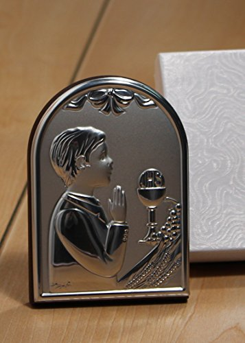 Stunning Italian Silver First Communion Boy Icon on Cherry Wood from FavorOnline