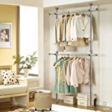 Prince Hanger Silver Crome Adjustable 2 Tier Hanger, Chrome, Steel