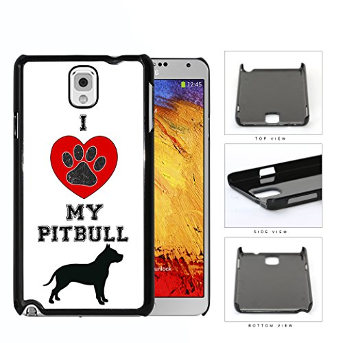 I Love My Pitbull Red Heart Dog Paw Samsung Galaxy Note III 3 N9000 Hard Snap on Plastic Cell Phone Case Cover