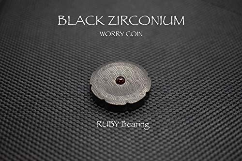 (MetonBoss Worry Coin Black Zirconium & Ruby Bearing | Everyday Carry Gear | Precision-Made and Desktop Display)