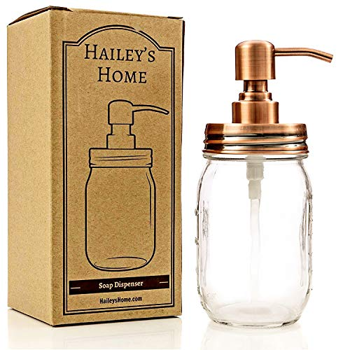 Jar Soap Dispenser - Bronze Pump from Stainless Steel with Clear Glass Jar for in Kitchen & Bathroom by Hailey's Home