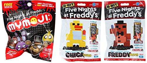 Scary Clown Jack In The Box (Five Nights At Freddy's 8-Bit Freddy 2-Pack Construction Set Chica & McFarlane Freddy Plush Series 2 + Mymoji Blind Bag Mystery Head)