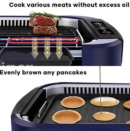 Indoor Grill Electric Grill Griddle CUSIMAX Smokeless Grill, Portable Korean BBQ Grill with Turbo Smoke Extractor Technology, Non-stick Removable Plates, Dishwasher-Safe, Tempered Glass Lid,1500W