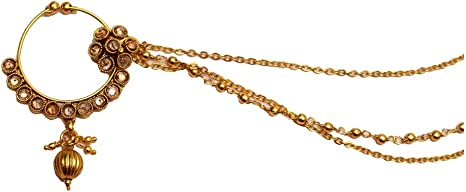 Amazon Com Wedding Crystal Layered Nose Ring Chain Indian Bridal