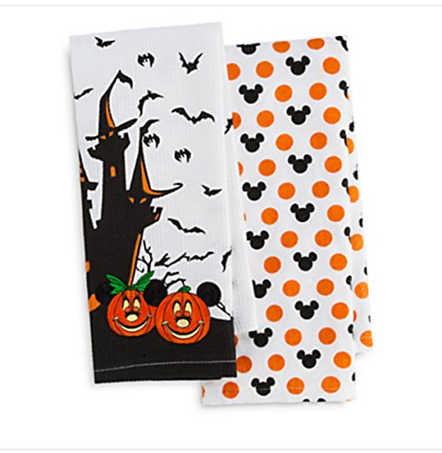 Disney Parks Mickey Minnie Mouse Pumpkin Halloween Kitchen Dish Towel Set of 2 -