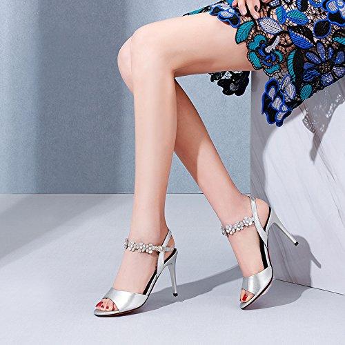 Sandalias silvery metal femeninas boca Tacones alto mujer de altos Zapatos verano Flores de pescado Sandalias tacón Hebilla VIVIOO tacones de fina tacón de con altos de alto de YFppqw