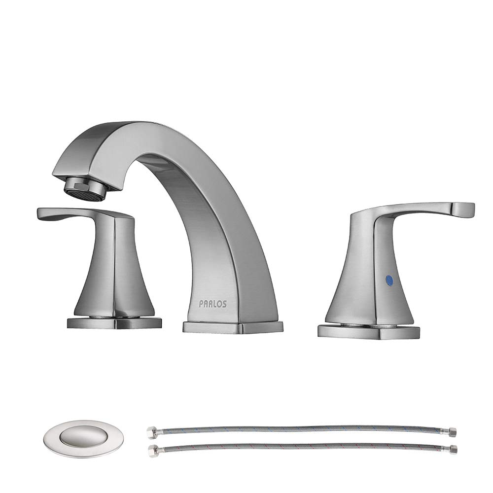 PARLOS Widespread Double Handles Bathroom Faucet with Pop Up Drain and cUPC Faucet Supply Lines, Brushed Nickel, Doris 14172 by PARLOS