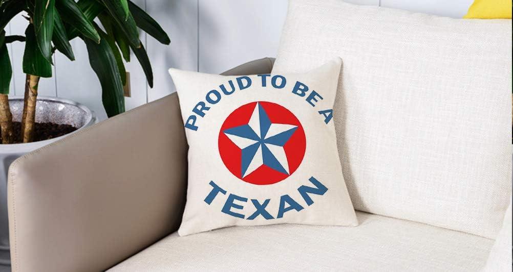 Square Soft and Cozy Pillow Covers,Texas Star, orgulloso de ser una cita texana con Star Motif en Circle Patriotic Message, Blue a,Funda para Decorar Sofá Dormitorio Decoración Funda de almohada.