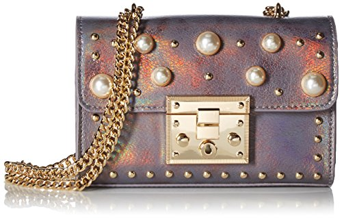 Crossbody Mini Pu Lock Ladies womens Flapover Satchel Satchel Push Flapover Steve Prince Pu Grey Push Crossbody Lock Prince Pearls Madden Pearls With Ladies Mini With 4qXn4w0P