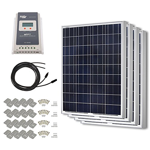 HQST 400 Watt 12 Volt Polycrystalline Solar Panel Kit with 40A MPPT Charge Controller by HQST