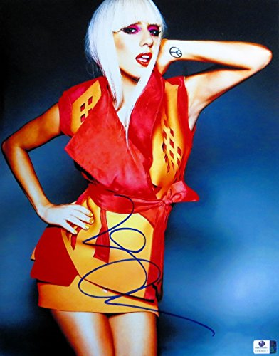Lady Gaga Signed Autographed 11X14 Photo Sexy Red/Yellow Outfit GV806017 (Sexy Outfits Online)