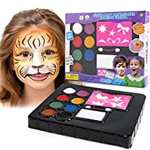 Balnore Face Painting Kit for Kids 8 Large Washable Paints Halloween Makeup Kit, Professional Face Paint Palette with Sticker Template and Brushes Safe Face Painting for Sensitive Skin
