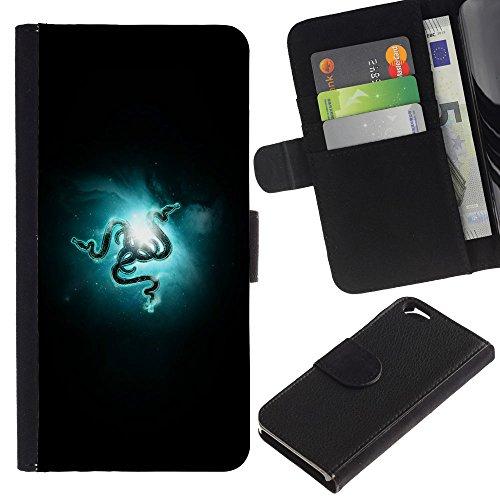 Funny Phone Case // Cuir Portefeuille Housse de protection Étui Leather Wallet Protective Case pour Apple Iphone 6 /RAZR Snakes/