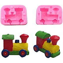 MoldFun Small Size 3D Train Engine Locomotive Silicone Mold for Cake Decorating, Chocolate, Fondant, Mini Soap, Crayon Melt, Candle, Polymer Clay, Plaster of Paris
