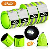 GoxRunx 6 Pcs Reflective Bands for Arm/Wrist/Leg, High Visibility Reflective Running Gear Reflectors Armband for Women Men,Safety Reflective Straps Bracelets for Running, Cycling, Walking