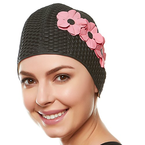 Beemo Swim Bathing Caps for Women & Girls - Black with Pink Flowers -