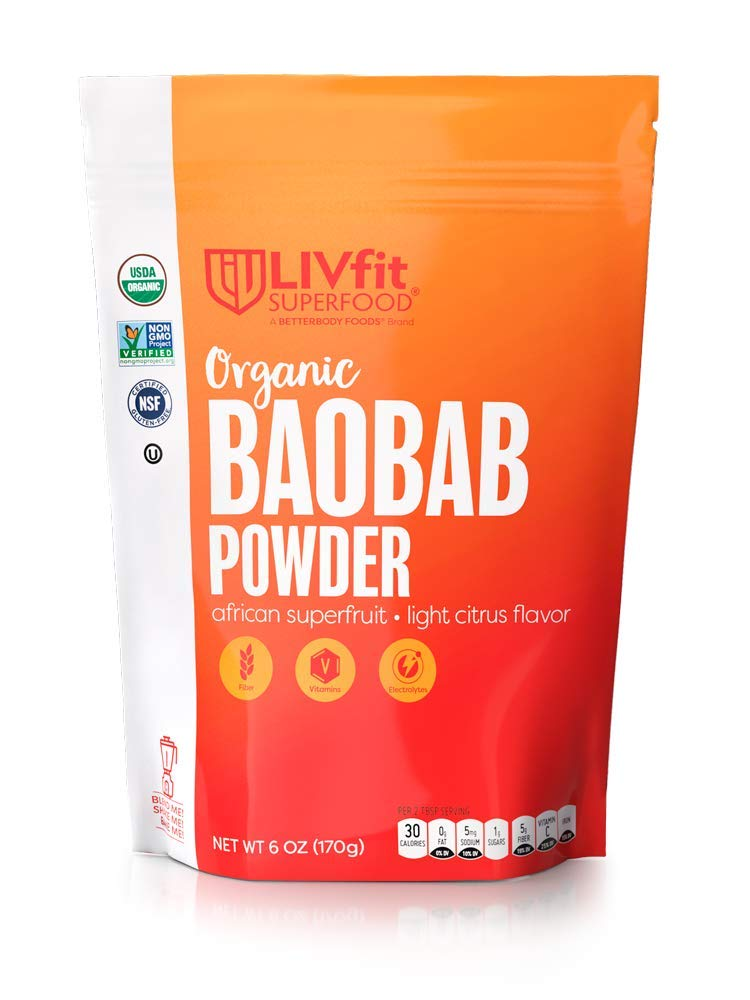 LIVfit Superfood Organic Baobab Super Fruit Powder 6 Ounce, Antioxidant Rich Baobab Powder with Natural Vitamin C and Fiber, Add to Smoothies Shakes and More