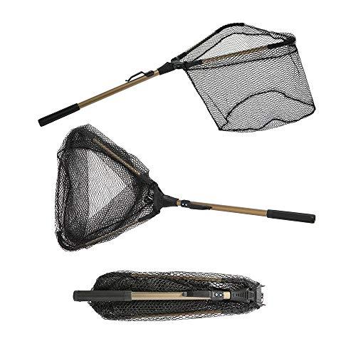 Folding Fishing Net - Yvleen Collapsible Fish Landing Net Robust Aluminum Pole Handle and Durable Nylon Mesh 16inch Hoop Size