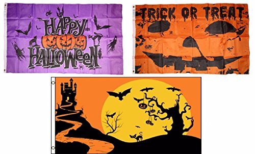 ALBATROS 3 ft x 5 ft Happy Halloween 3 Pack Flag Set #103 Combo Banner Grommets for Home and Parades, Official Party, All Weather Indoors Outdoors