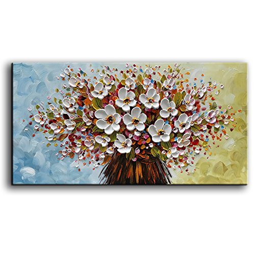 baccow - ( 3D Oil Paintings, 24x48inches Hand-Painted White Flowers Oil Painting On Canvas 3D Texture Floral Paintings Modern Abstract Framed Wall Art for Living Room Ready to -