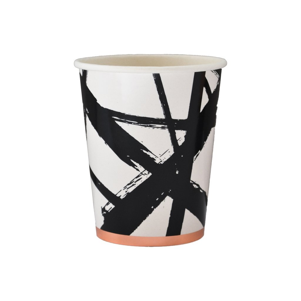 Black & White Brush Strokes Paper Cups - Birthday, Showers Party Disposable Cups - Harlow & Grey Muse (8 Count)