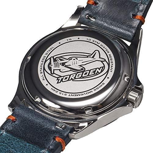 Torgoen T9 Cream GMT Pilot Watch | 42mm - Blue Leather Strap by Torgoen (Image #2)