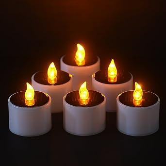 6 X Teelichter LED Solarenergie Flammenlose Kerzen Für Weihnachten,  Valentinstag Dekoration, Party Herzstück,