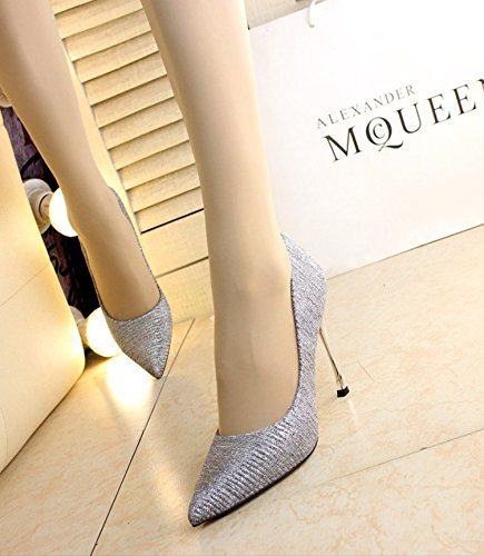 Fine 10Cm MDRW Elegant 38 Work Heels Wedding Tip Silver All A Shoes Spring Shoes Sexy Shoes Leisure Lady With Match 500vnArqSw