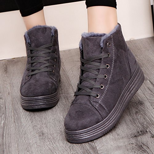 Warm Round Casual Suede Platform GUAngqi Shoes 37 Ankle Boots Boots gray Snow Sneaker Winter Women Women IqqwF7