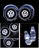 Car Logo LED Cup Pad led cup coaster USB Charging Mat Luminescent Cup Pad LED Mat Interior Atmosphere Lamp Decoration Light (Volkswagen)
