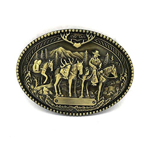 Metal belt buckle Western cowboy belt buckle for belt accessories Custom buckle (3D Three horse Copper)