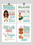 Moana Christian Nursery Decor Wall Art Set of 4 Prints - Moana, Pua, Hei Hei and Gramma Tala - Multiple Sizes