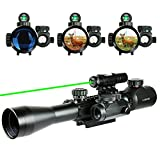 UUQ Combo 3-9x40mm Clarity+ Tactical Illuminated Rifle Scope with GREEN Laser and Red Dot Sight of Red / Green Reticle Mount