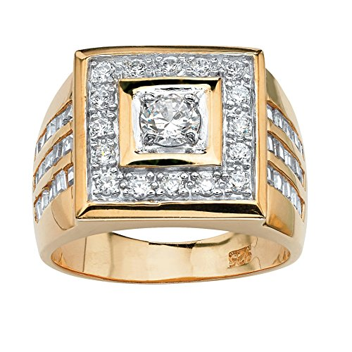 Men's White Cubic Zirconia 18k Yellow Gold over .925 Sterling Silver Bezel-Set Ring Size 13