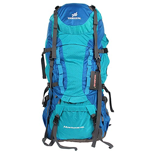 WASING 75L Internal Frame Backpack for Outdoor Hiking Travel Climbing Camping Mountaineering with Rain Cover(Light blue)