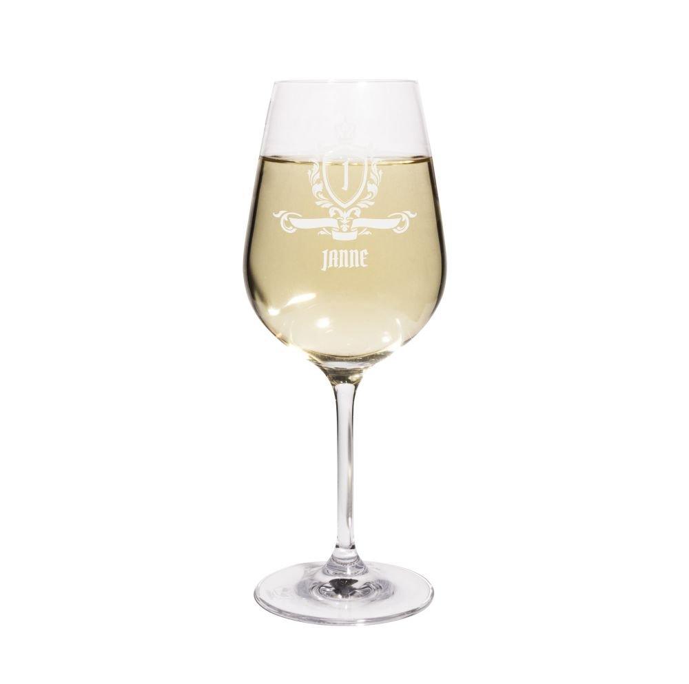 PrintPlanet® Weißweinglas mit Namen Janne graviert - Leonardo® Weinglas mit Gravur - Design Royales Wappen
