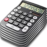 Office Style 8 Digit Dual Powered Desktop Calculator, Large LCD Display, Black (Pack Of 6)