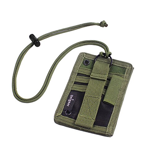 Unigear Tactical ID Card Holder Detachable Badge Holder 1000D Cordura with Adjustable Neck Lanyard Key Ring (Green - 1000D Cordura)