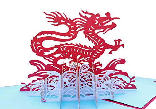 iGifts And Cards Inspirational Dragon 3D Pop Up Greeting Card - Good Luck, Unique, Special, Large, Half-Fold, Chinese New Year, Get Well, All Occasion, Encouragement, Happy Birthday, Congratulations